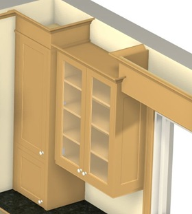 3 D View Of Crown Moulding On Different Cabinet Heights