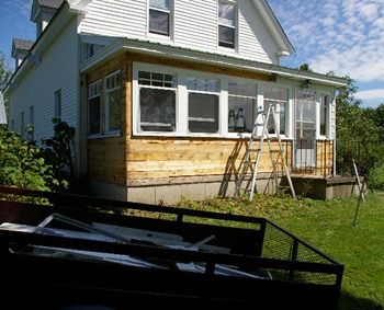Aluminum siding removed from porch