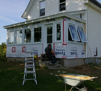 Awning end windows let breeze blow through porch