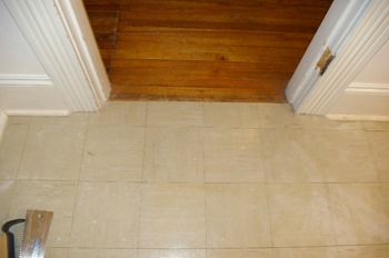 Existing door casing and hall floor