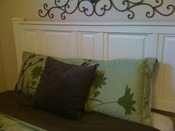 Headboard made from cabinet doors