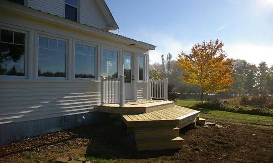 Finished porch exterior and deck