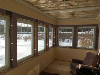 Rigid insulation installed around windows
