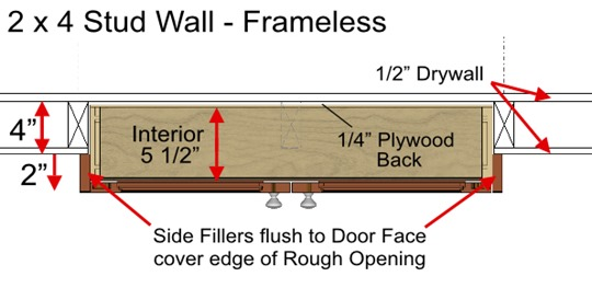 Studspace Pantry 2x4 wall Frameless