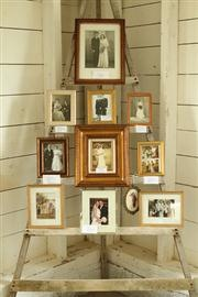 apple ladder holds family photos