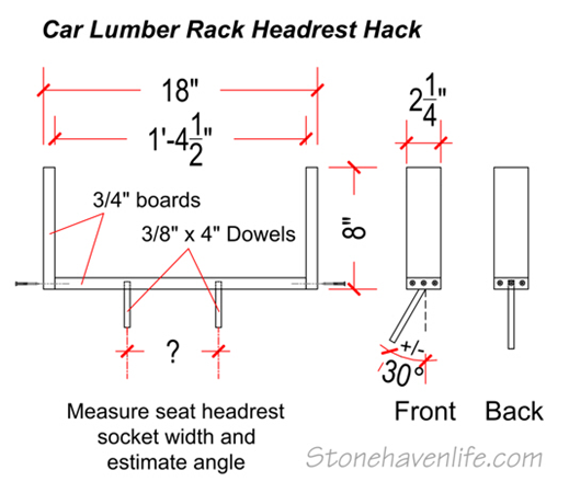 car lumber rack headrest hack detail drawings - stonehavenlife