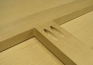 close up of pocket joint in cabinet face frame