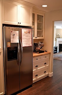 counterdepth fridge fits nicely into wall cabinetry