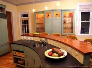 curved raised wood counter for seating