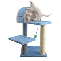 faux fleece cat tree in sky blue - amazon