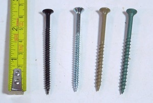 four types of screws tested
