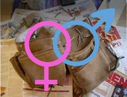 gender symbols and tool belt