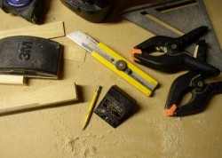 hand tools on workbench