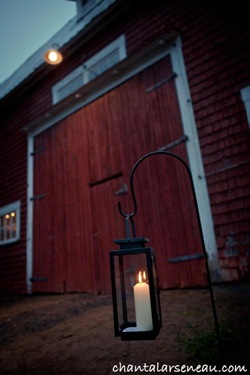 lantern lighting path to the barn