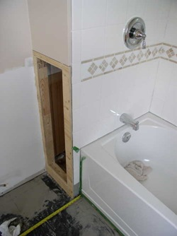 plywood frame plumbing access