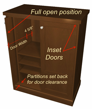 pocket-door-cabinet-with shelves-door-open