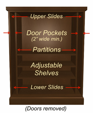 pocket-door-cabinet-with shelves-interior