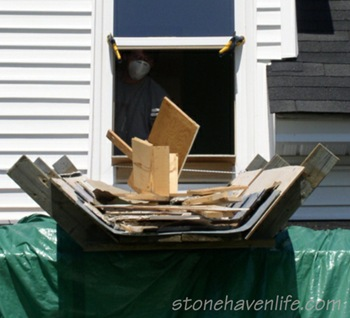 porch-roof-debris-chute-built-for-bathroom-demolition-stonehavenlife