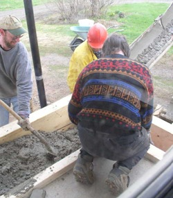 pouring concrete for mudroom