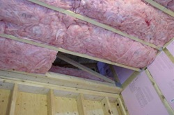 r-28 ceiling insulation installed