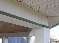 Porch beam fascia, ceiling and soffit
