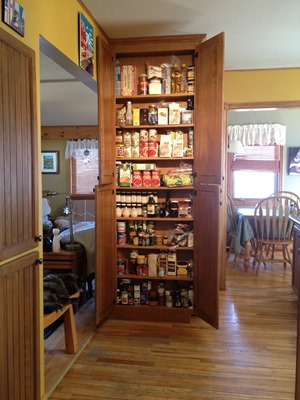 the shallow pantry let's us find things at a glance